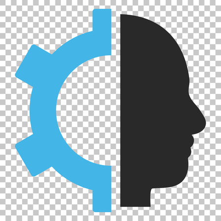 Cyborg Gear vector icon. Image style is a flat blue and gray iconic symbol.