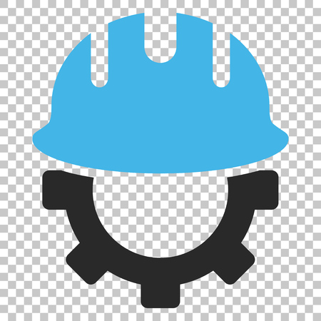 hardhat: Development Hardhat vector icon. Image style is a flat blue and gray pictogram symbol.