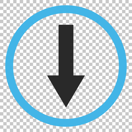 Down Rounded Arrow vector icon. Image style is a flat blue and gray pictogram symbol.