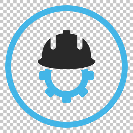 Development Helmet vector icon. Image style is a flat blue and gray pictogram symbol. Illustration