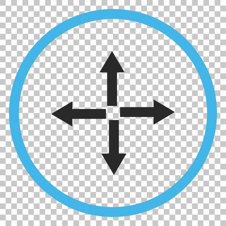 expand: Expand Arrows vector icon. Image style is a flat blue and gray icon symbol.