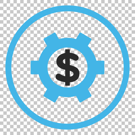 Financial Settings vector icon. Image style is a flat blue and gray iconic symbol. Illustration