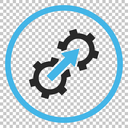 Gear Integration vector icon. Image style is a flat blue and gray icon symbol.
