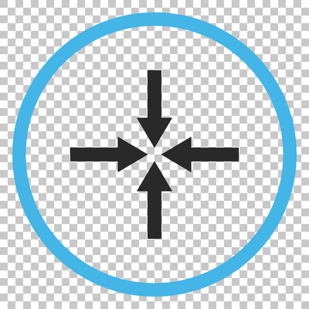shrink: Impact Arrows vector icon. Image style is a flat blue and gray pictogram symbol.