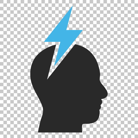 headaches: Headache vector icon. Image style is a flat blue and gray icon symbol.