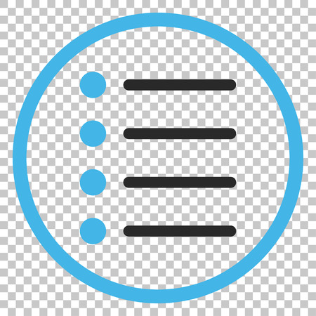 item list: Items vector icon. Image style is a flat blue and gray icon symbol.