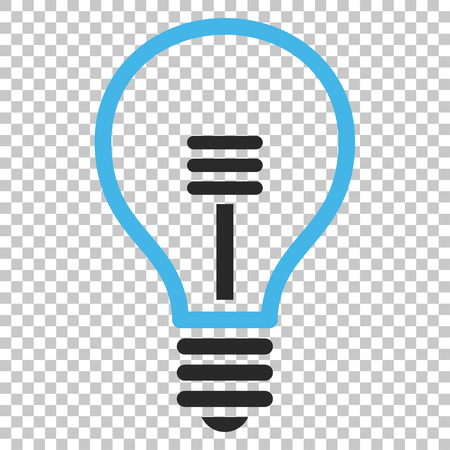 gray bulb: Lamp Bulb vector icon. Image style is a flat blue and gray pictogram symbol.