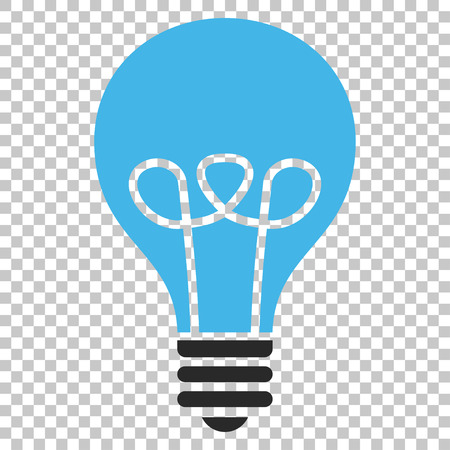gray bulb: Lamp Bulb vector icon. Image style is a flat blue and gray pictograph symbol. Illustration