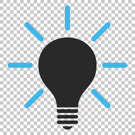 gray bulb: Light Bulb vector icon. Image style is a flat blue and gray pictogram symbol.