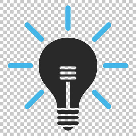 gray bulb: Light Bulb vector icon. Image style is a flat blue and gray pictograph symbol.