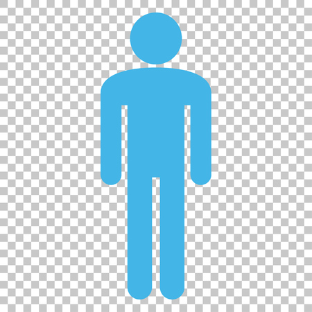 persona: Man vector icon. Image style is a flat blue and gray iconic symbol.