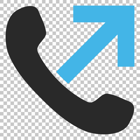 outgoing: Outgoing Call vector icon. Image style is a flat blue and gray pictogram symbol.