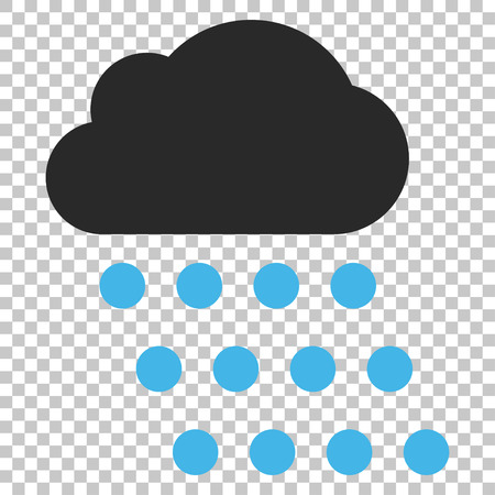 watery: Rain Cloud vector icon. Image style is a flat blue and gray pictogram symbol. Illustration