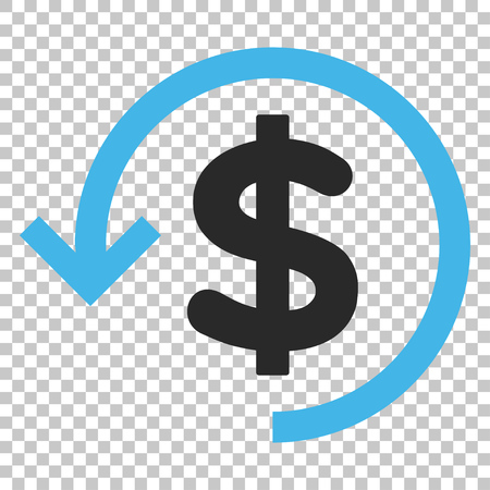 Refund vector icon. Image style is a flat blue and gray icon symbol.