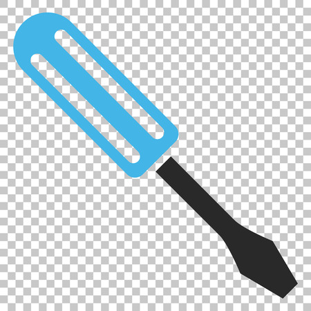 Screwdriver vector icon. Image style is a flat blue and gray pictogram symbol.