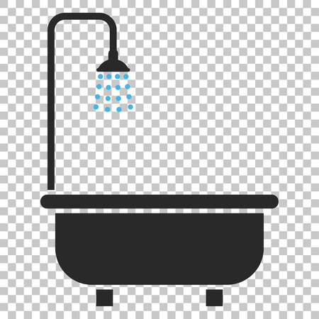 shower bath: Shower Bath vector icon. Image style is a flat blue and gray pictogram symbol.