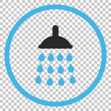 sanitize: Shower vector icon. Image style is a flat blue and gray iconic symbol.