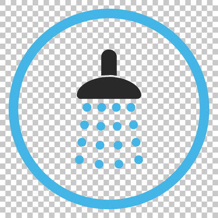 source d eau: Shower vector icon. Image style is a flat blue and gray pictogram symbol. Illustration