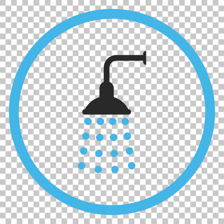 desinfectante: Shower vector icon. Image style is a flat blue and gray icon symbol.