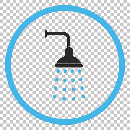 sterilize: Shower vector icon. Image style is a flat blue and gray iconic symbol.