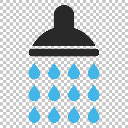 pure element: Shower vector icon. Image style is a flat blue and gray pictogram symbol. Illustration