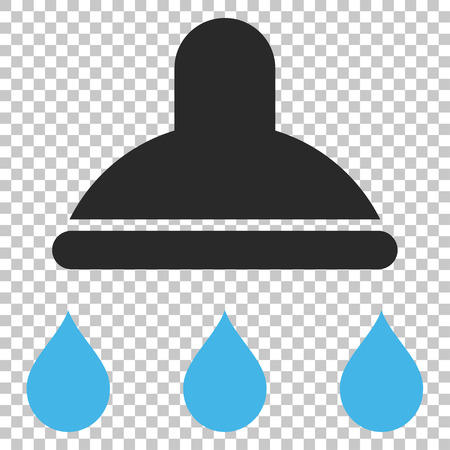Shower vector icon. Image style is a flat blue and gray icon symbol.