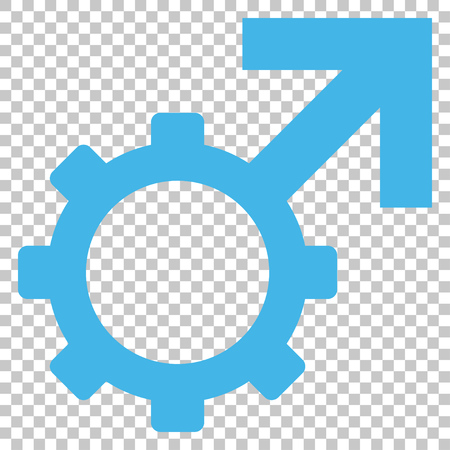 erection: Technological Potence vector icon. Image style is a flat blue and gray pictograph symbol.