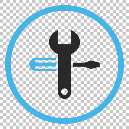 Tuning vector icon. Image style is a flat blue and gray iconic symbol.