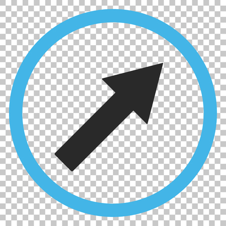 upright: Up-Right Rounded Arrow vector icon. Image style is a flat blue and gray iconic symbol.