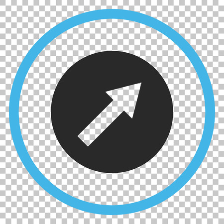 upright: Up-Right Rounded Arrow vector icon. Image style is a flat blue and gray icon symbol.