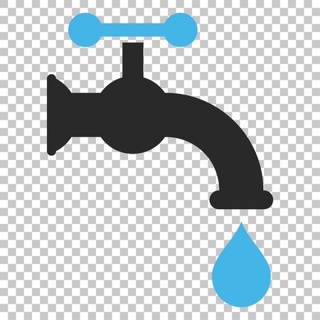 aqueduct: Water Tap vector icon. Image style is a flat blue and gray pictogram symbol.