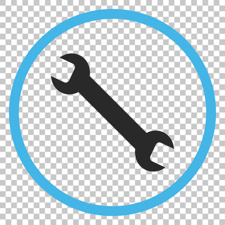 Wrench vector icon. Image style is a flat blue and gray pictograph symbol.