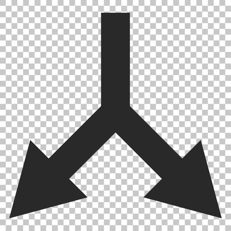 bifurcation: Bifurcation Arrow Down vector icon. Image style is a flat gray icon symbol. Illustration