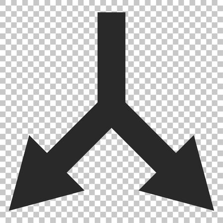 bifurcation: Bifurcation Arrow Down vector icon. Image style is a flat gray icon symbol. Illustration
