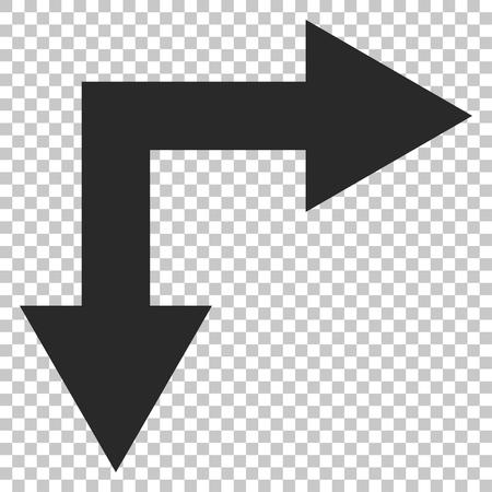 bifurcation: Bifurcation Arrow Right Down vector icon. Image style is a flat gray pictogram symbol. Illustration