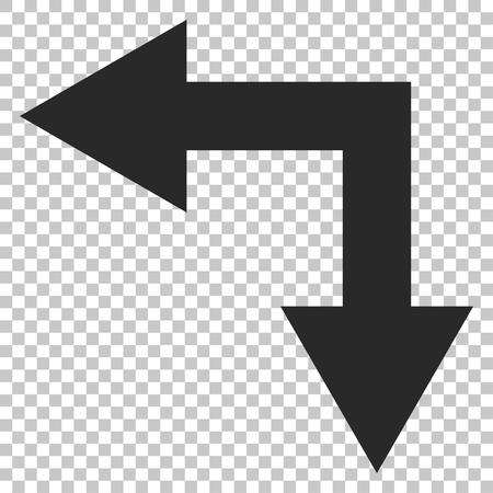 bifurcation: Bifurcation Arrow Left Down vector icon. Image style is a flat gray icon symbol.