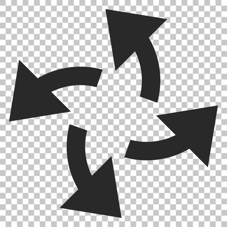 outward: Centrifugal Arrows vector icon. Image style is a flat gray icon symbol. Illustration