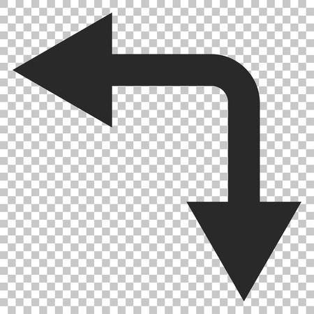 bifurcation: Bifurcation Arrow Left Down vector icon. Image style is a flat gray pictograph symbol. Illustration