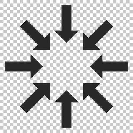 derrumbe: Contraer icono de las flechas del vector. estilo de la imagen es un símbolo plana pictograma gris. Vectores