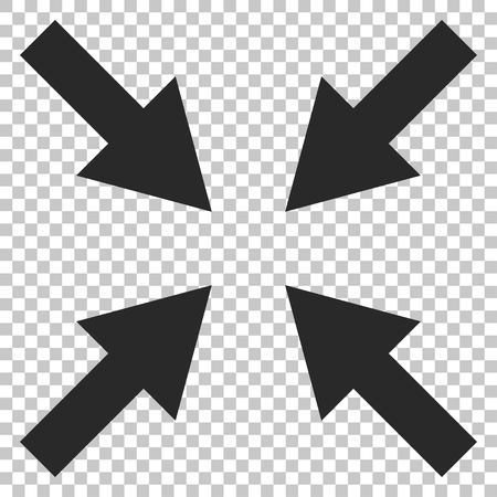 shrink: Compress Arrows vector icon. Image style is a flat gray icon symbol.