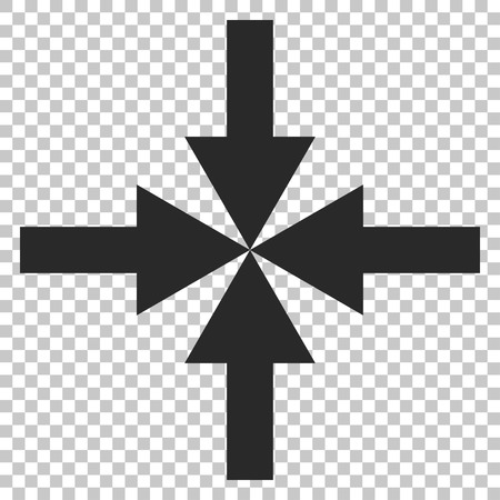 concentrate: Compress Arrows vector icon. Image style is a flat gray iconic symbol.