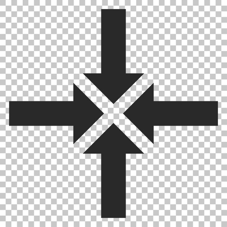 clash: Compress Arrows vector icon. Image style is a flat gray iconic symbol.