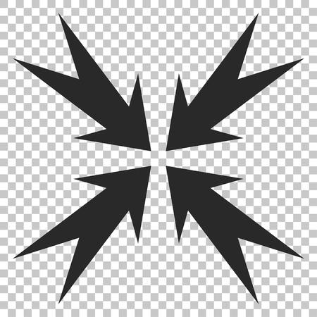 compression: Compression Arrows vector icon. Image style is a flat gray icon symbol.