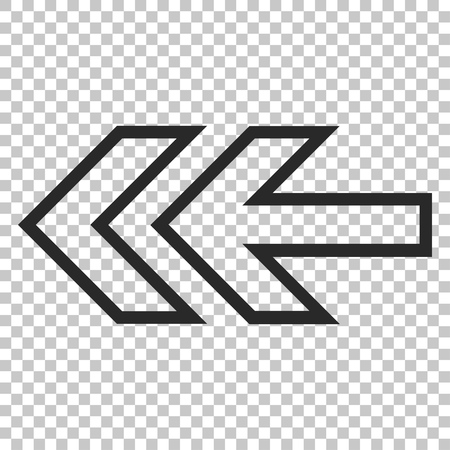 redirect: Direction Left vector icon. Image style is a flat gray pictogram symbol. Illustration