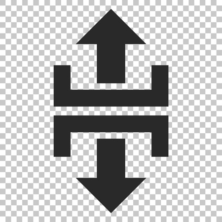 vertical divider: Divide Vertical Direction vector icon. Image style is a flat gray iconic symbol. Illustration
