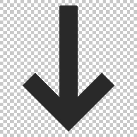 Down Arrow vector icon. Image style is a flat gray icon symbol.