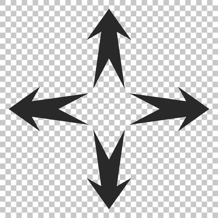 expand: Expand Arrows vector icon. Image style is a flat gray iconic symbol. Illustration