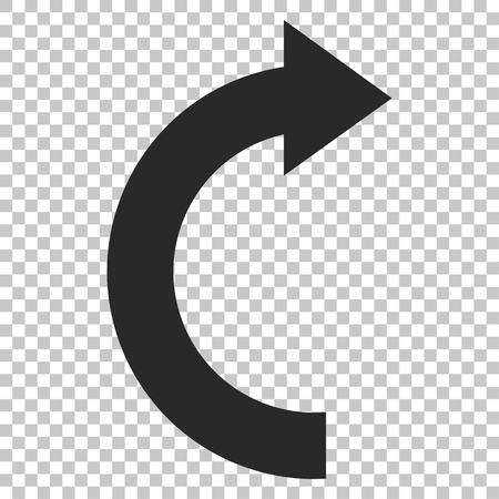 rotate: Rotate Right vector icon. Image style is a flat gray icon symbol. Illustration