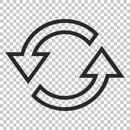 sync: Sync Arrows vector icon. Image style is a flat gray pictogram symbol.