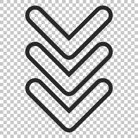 triple: Triple Pointer Down vector icon. Image style is a flat gray pictograph symbol.